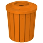 """42 Gallon Orange Slatted Recycling Receptacle, Flat Top 4"""" Opening"""
