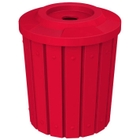 """42 Gallon Red Slatted Recycling Receptacle, Flat Top 4"""" Opening"""
