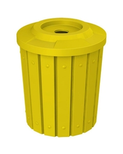 """42 Gallon Yellow Slatted Recycling Receptacle, Flat Top 4"""" Opening"""