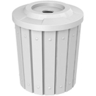 """42 Gallon White Slatted Recycling Receptacle, Flat Top 4"""" Opening"""