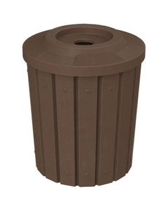 """42 Gallon Brown Granite Slatted Recycling Receptacle, Flat Top 4"""" Opening"""