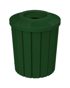 """42 Gallon Green Granite Slatted Recycling Receptacle, Flat Top 4"""" Opening"""