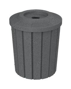 "42 Gallon Dark Granite Slatted Recycling Receptacle, Flat Top 4"" Opening"