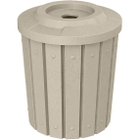 """42 Gallon Beige Granite Slatted Recycling Receptacle, Flat Top 4"""" Opening"""