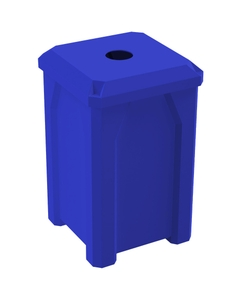 """32 Gallon Blue Square Recycling Receptacle, Flat Top 4"""" Opening"""