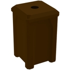 """32 Gallon Brown Square Recycling Receptacle, Flat Top 4"""" Opening"""