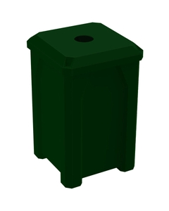 """32 Gallon Green Square Recycling Receptacle, Flat Top 4"""" Opening"""
