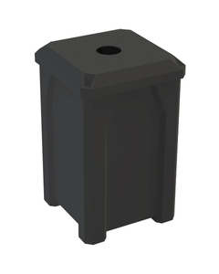 """32 Gallon Black Square Recycling Receptacle, Flat Top 4"""" Opening"""