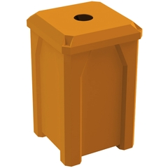 """32 Gallon Orange Square Recycling Receptacle, Flat Top 4"""" Opening"""