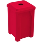 """32 Gallon Red Square Recycling Receptacle, Flat Top 4"""" Opening"""
