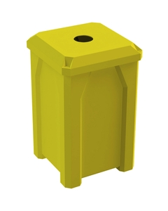 """32 Gallon Yellow Square Recycling Receptacle, Flat Top 4"""" Opening"""
