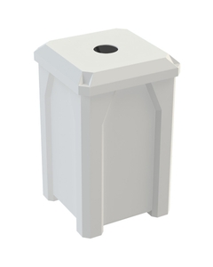 """32 Gallon White Square Recycling Receptacle, Flat Top 4"""" Opening"""