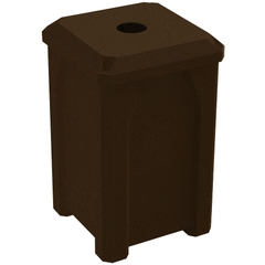 """32 Gallon Brown Granite Square Recycling Receptacle, Flat Top 4"""" Opening"""