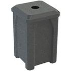 "32 Gallon Dark Granite Square Recycling Receptacle, Flat Top 4"" Opening"