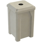 """32 Gallon Beige Granite Square Recycling Receptacle, Flat Top 4"""" Opening"""