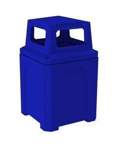 52 Gallon Blue Square Trash Receptacle, 4-Way Open Lid