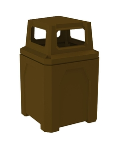52 Gallon Brown Square Trash Receptacle, 4-Way Open Lid