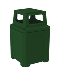 52 Gallon Green Square Trash Receptacle, 4-Way Open Lid