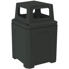 52 Gallon Black Square Trash Receptacle, 4-Way Open Lid