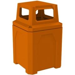 52 Gallon Orange Square Trash Receptacle, 4-Way Open Lid