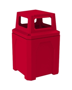 52 Gallon Red Square Trash Receptacle, 4-Way Open Lid