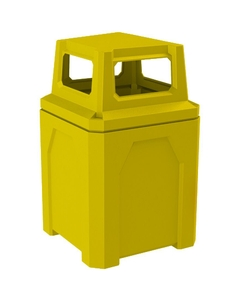 52 Gallon Yellow Square Trash Receptacle, 4-Way Open Lid