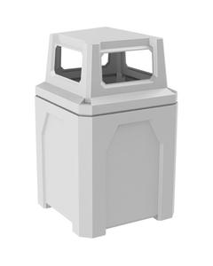 52 Gallon White Square Trash Receptacle, 4-Way Open Lid