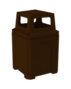 52 Gallon Brown Granite Square Trash Receptacle, 4-Way Open Lid