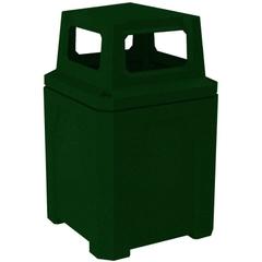 52 Gallon Green Granite Square Trash Receptacle, 4-Way Open Lid