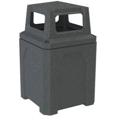 52 Gallon Dark Granite Square Trash Receptacle, 4-Way Open Lid