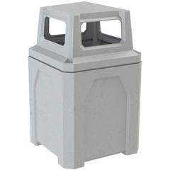 52 Gallon Light Granite Square Trash Receptacle, 4-Way Open Lid