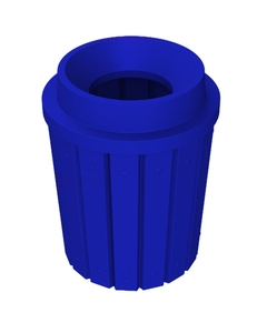 """42 Gallon Blue Slatted Trash Receptacle, Funnel Top 11.5"""" Opening"""