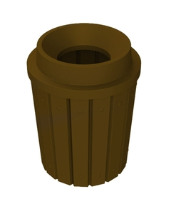 """42 Gallon Brown Slatted Trash Receptacle, Funnel Top 11.5"""" Opening"""
