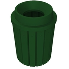 """42 Gallon Green Slatted Trash Receptacle, Funnel Top 11.5"""" Opening"""
