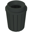 "42 Gallon Black Slatted Trash Receptacle, Funnel Top 11.5"" Opening"