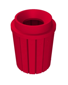 """42 Gallon Red Slatted Trash Receptacle, Funnel Top 11.5"""" Opening"""