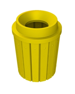"""42 Gallon Yellow Slatted Trash Receptacle, Funnel Top 11.5"""" Opening"""