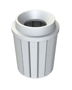 """42 Gallon White Slatted Trash Receptacle, Funnel Top 11.5"""" Opening"""