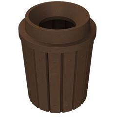"42 Gallon Brown Granite Slatted Trash Receptacle, Funnel Top 11.5"" Opening"