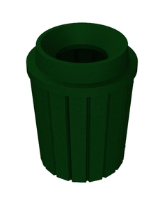 "42 Gallon Green Granite Slatted Trash Receptacle, Funnel Top 11.5"" Opening"