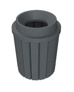 "42 Gallon Dark Granite Slatted Trash Receptacle, Funnel Top 11.5"" Opening"