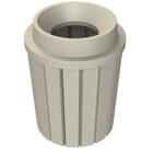 "42 Gallon Beige Granite Slatted Trash Receptacle, Funnel Top 11.5"" Opening"