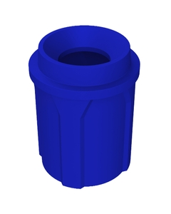 """42 Gallon Blue Trash Receptacle, Funnel Top 11.5"""" Opening"""