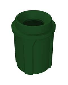 """42 Gallon Green Trash Receptacle, Funnel Top 11.5"""" Opening"""