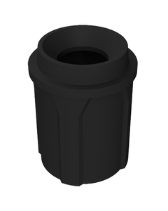 """42 Gallon Black Trash Receptacle, Funnel Top 11.5"""" Opening"""