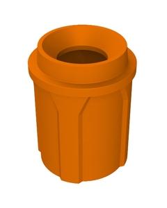 "42 Gallon Orange Trash Receptacle, Funnel Top 11.5"" Opening"