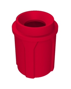 """42 Gallon Red Trash Receptacle, Funnel Top 11.5"""" Opening"""