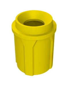 """42 Gallon Yellow Trash Receptacle, Funnel Top 11.5"""" Opening"""