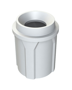 """42 Gallon White Trash Receptacle, Funnel Top 11.5"""" Opening"""