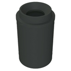 """55 Gallon Black Trash Receptacle, Funnel Top 11.5"""" Opening"""
